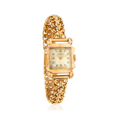 C. 1940 Vintage Longines 18kt Yellow Gold Women's Bracelet Watch, , default
