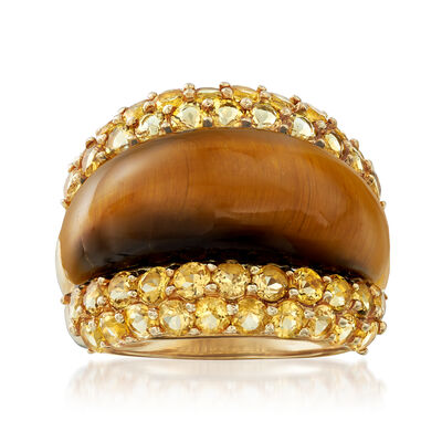 C. 1990 Vintage TigerS Eye and 3.00 ct. t.w. Citrine Ring in 14kt Yellow Gold, , default