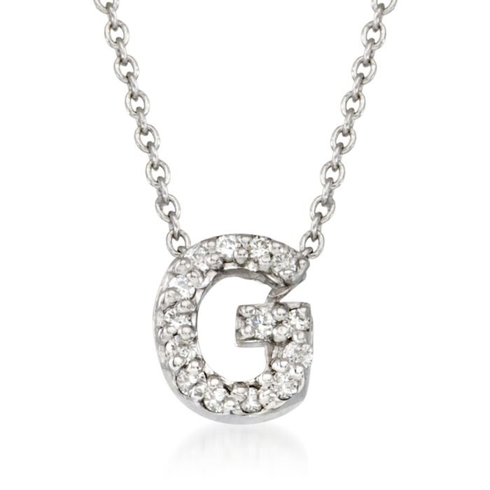 "Roberto Coin ""Love Letter"" Diamond Accent Initial ""G"" Necklace in 18kt White Gold"