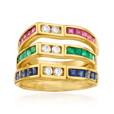 C. 2000 Vintage 2.80 ct. t.w. Multi-Gemstone and .30 ct. t.w. Diamond Ring in 20kt Yellow Gold, , default