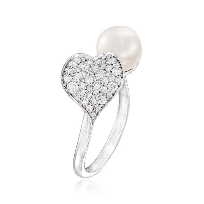 """Mikimoto """"Petal"""" 7.5mm A+ Cultured Akoya Pearl and .46 ct. t.w. Diamond Ring in 18kt White Gold"""