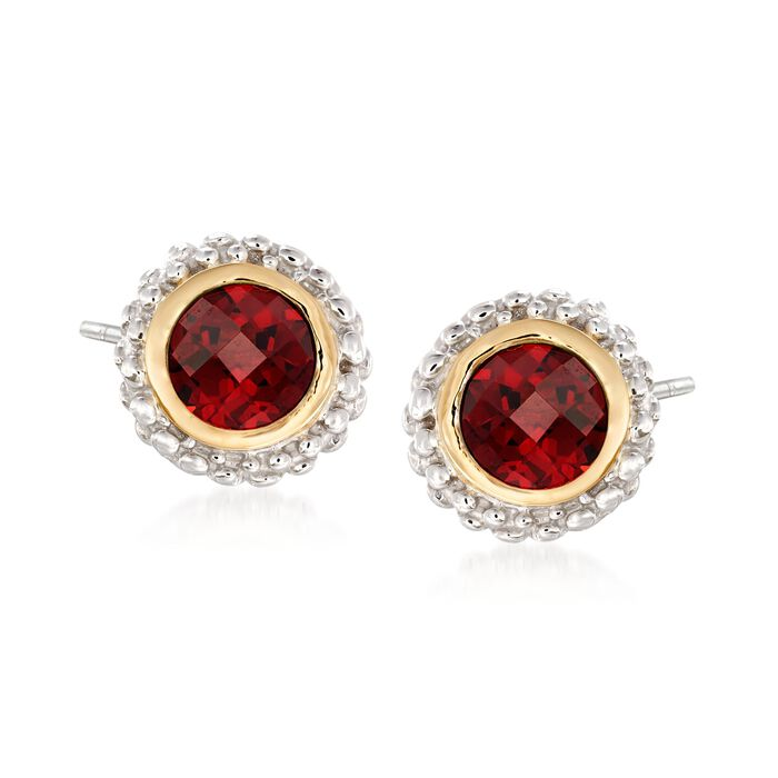 "Phillip Gavriel ""Popcorn"" 1.00 ct. t.w. Garnet Stud Earrings in Sterling Silver and 18kt Gold , , default"