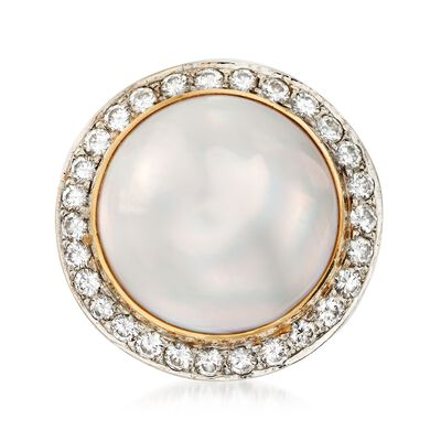 C. 1980 Vintage 17mm Mabe Pearl and 1.15 ct. t.w. Diamond Dome Ring in 14kt Yellow Gold, , default