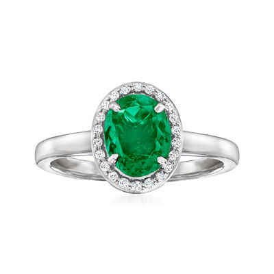 C. 1980 Vintage .93 Carat Emerald and .16 ct. t.w. Diamond Ring in 14kt White Gold
