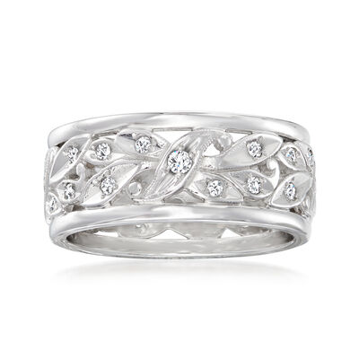 C. 1970 Vintage .40 ct. t.w. Diamond Leaf Eternity Band in 14kt White Gold