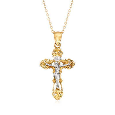 C. 1980 Vintage 10kt Yellow Gold and 14kt White Gold Crucifix Pendant Necklace, , default