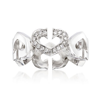 C. 1990 Vintage Cartier .13 ct. t.w. Diamond Heart Ring in 18kt White Gold, , default