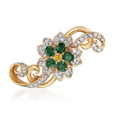 C. 1980 Vintage 2.58 ct. t.w. Green and Yellow Sapphire and 1.10 ct. t.w. Diamond Flower Pin in 18kt Yellow Gold, , default