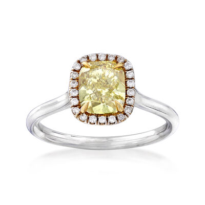 1.53 ct. t.w. Yellow and White Diamond Ring in 18kt Two-Tone Gold