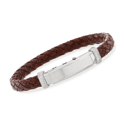 Phillip Gavriel Men's Brown Leather Bracelet with Sterling Silver