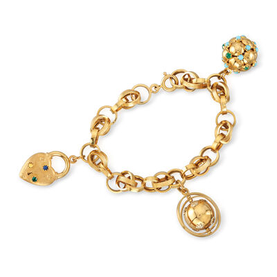 C. 1990 Vintage 18kt Yellow Gold Charm Bracelet with Multi-Gem Accents