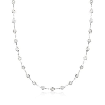 5.00 ct. t.w. Bezel-Set Diamond Station Necklace in 14kt White Gold