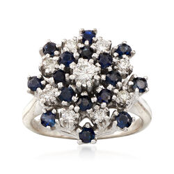 C. 1970 Vintage Sapphire and Diamond Cluster Ring in 14kt Yellow Gold, , default