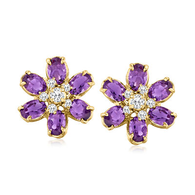 C. 1980 Vintage 4.50 ct. t.w. Amethyst and .50 ct. t.w. Diamond Flower Earrings in 14kt Yellow Gold