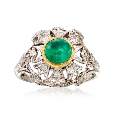 C. 1950 Vintage .70 Carat Emerald and .40 ct. t.w. Diamond Cocktail Ring in Platinum with 14kt Yellow Gold