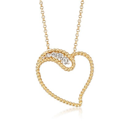 "Roberto Coin ""Barocco"" .12 ct. t.w. Diamond Heart Pendant Necklace in 18kt Yellow Gold, , default"