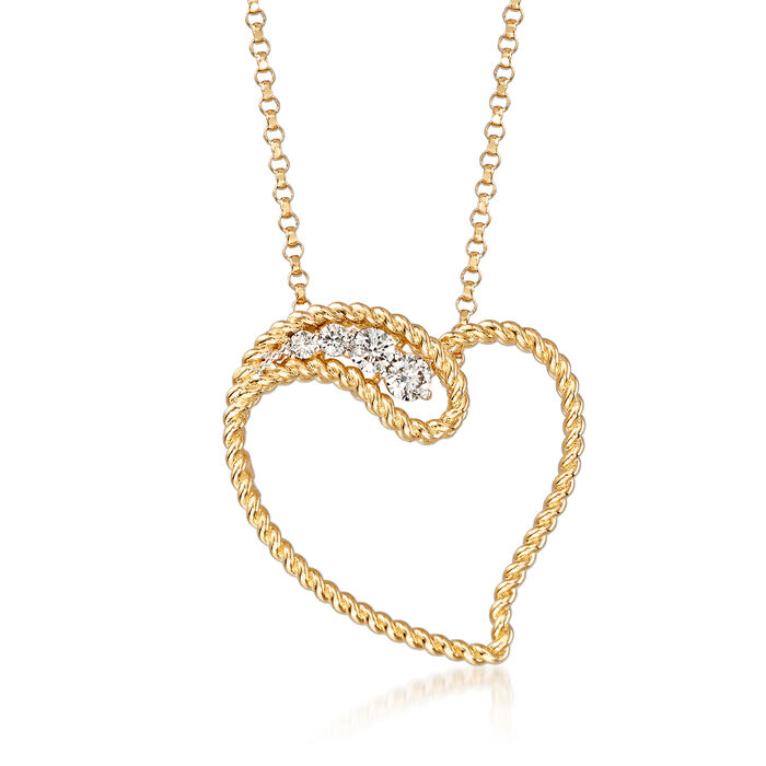 """Roberto Coin """"Barocco"""" .12 ct. t.w. Diamond Heart Pendant Necklace in 18kt Yellow Gold"""