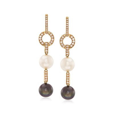 C. 1980 11.5mm South Sea Pearl and .85 ct. t.w. Diamond Drop Earrings in 18kt Yellow Gold, , default