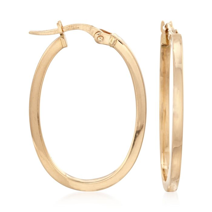 Roberto Coin Oval Snapbar Hoops in 18-Karat Yellow Gold, , default