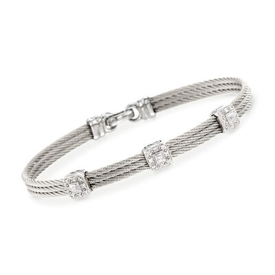 "ALOR ""Classique"" .14 ct. t.w. Diamond Gray Cable Bracelet with 18kt White Gold, , default"