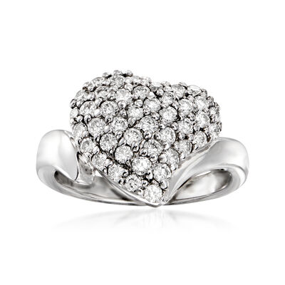 C. 1980 Vintage 1.05 ct. t.w. Diamond Heart Ring in 14kt White Gold