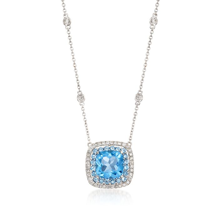 """Gregg Ruth 3.20 Carat Total Weight Blue Topaz and .27 Carat Total Weight Diamond Necklace in 18-Karat White Gold. 18"""", , default"""