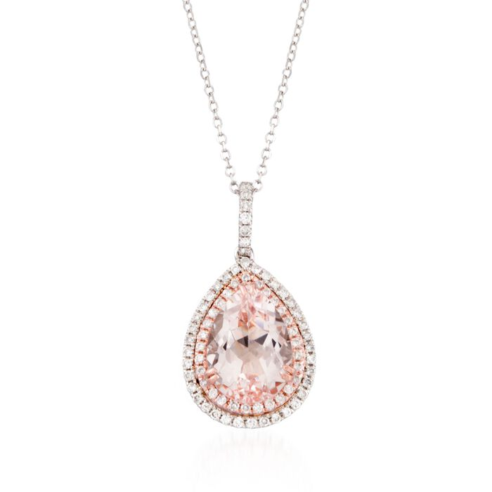 "2.50 Carat Morganite and .30 Carat Total Weight Diamond Pendant Necklace in 14-Karat Two-Tone Gold. 18"", , default"