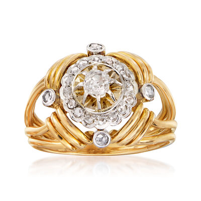 C. 1960 Vintage .58 ct. t.w. Diamond Cluster Ring in 18kt Yellow Gold, , default