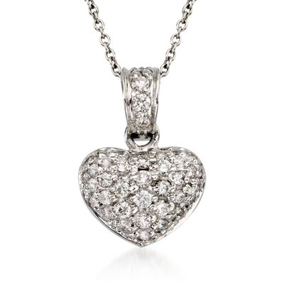 "Roberto Coin ""Tiny Treasures"" .44 ct. t.w. Diamond Heart Necklace in 18kt White Gold"