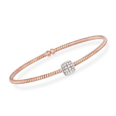 Simon G. .16 ct. t.w. Diamond Square Bracelet in 18kt Rose Gold, , default