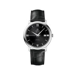 Omega De Ville Prestige Men's 39.5mm Stainless Steel Watch With Black Leather Strap and Dial, , default