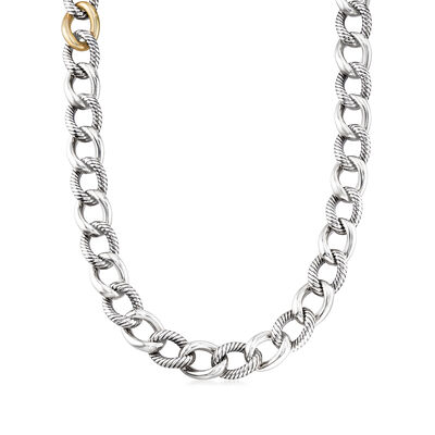 C. 1990 Vintage David Yurman Link Necklace in Sterling Silver and 14kt Yellow Gold, , default