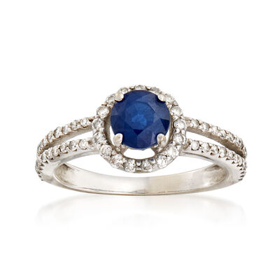 C. 1990 Vintage 1.00 Carat Sapphire and .50 ct. t.w. Diamond Ring in 14kt White Gold, , default