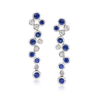 Gregg Ruth .64 ct. t.w. Sapphire and .25 ct. t.w. Diamond Bubble Bezel-Set Drop Earrings in 18kt White Gold, , default