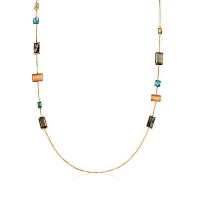 "C. 2000 Vintage Ippolita ""Rock Candy"" Multi-Gemstone Necklace in 18kt Yellow Gold"