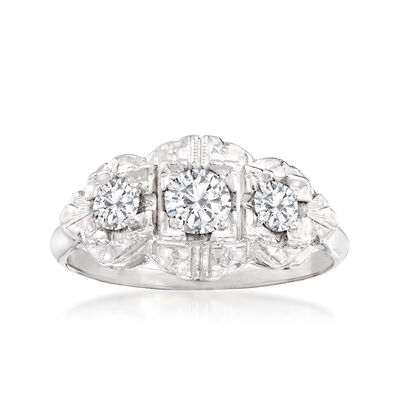 C. 1940 Vintage .60 ct. t.w. Triple-Diamond Ring in 14kt White Gold