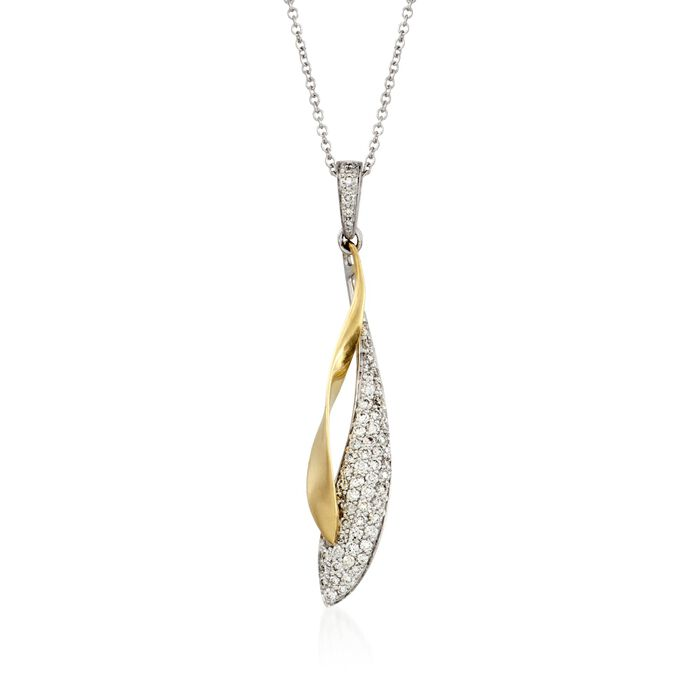 "Simon G. 0.39 Carat Total Weight Diamond Necklace in 18-Karat Two-Tone Gold. 17"", , default"