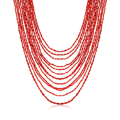 C. 1950 Vintage Red Coral Multi-Strand Necklace with 14kt Yellow Gold