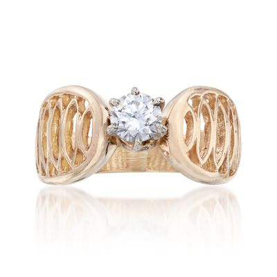 C. 1970 Vintage .45 Carat Diamond Openwork Ring in 14kt Yellow Gold, , default