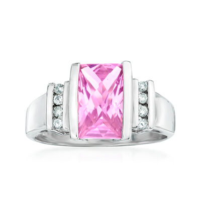 C. 1980 Vintage 2.95 Carat Pink Synthetic Sapphire and .13 ct. t.w. Diamond Ring in 10kt White Gold