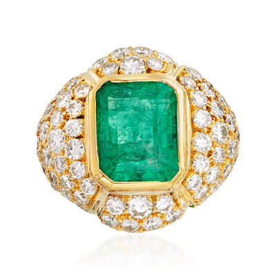 C. 1980 Vintage 4.50 Carat Emerald and 3.50 ct. t.w. Diamond Ring in 18kt Yellow Gold, , default
