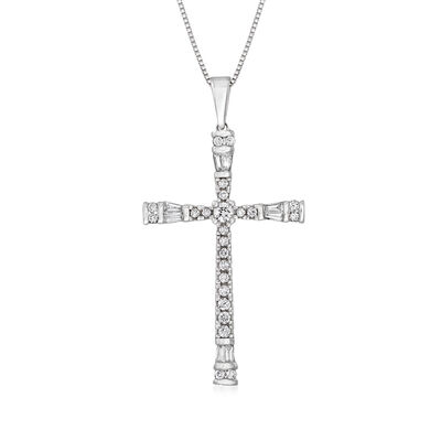 C. 2000 Vintage .50 ct. t.w. Baguette and Round Diamond Cross Pendant Necklace in 14kt White Gold