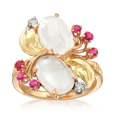 C. 1970 Vintage Moonstone and .30 ct. t.w. Ruby Ring in 14kt Yellow Gold with Diamond Accents, , default
