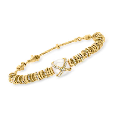 """C. 1990 Vintage Fred """"Baie Des Anges"""" 12x11.3mm Cultured Pearl and 1.06 ct. t.w. Diamond Bracelet in 18kt Yellow Gold"""