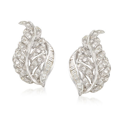 C. 1970 Vintage 1.80 ct. t.w. Round and Baguette Diamond Leaf Clip-On Earrings in 18kt White Gold , , default