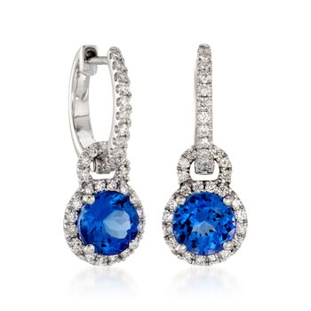 Simon G. Tanzanite and Diamond Drops in 18-Karat White Gold