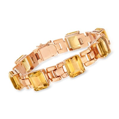 C. 1940 Vintage 35.00 ct. t.w. Citrine Link Bracelet in 18kt Rose Gold