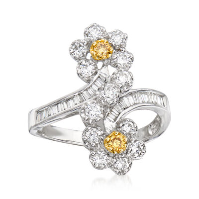 C. 1990 Vintage 1.05 ct. t.w. Yellow and White Diamond Flower Ring in 18kt White Gold