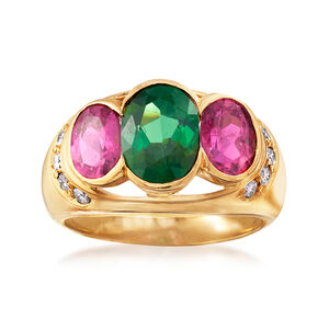 C. 1990 Vintage 3.50 ct. t.w. Green and Pink Tourmaline and .25 ct. t.w. Diamond Ring in 18kt Yellow Gold #934620