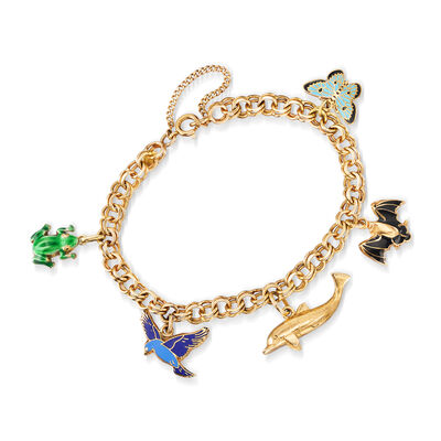C. 1990 Vintage 14kt Yellow Gold Charm Bracelet with Multicolored Enamel, , default